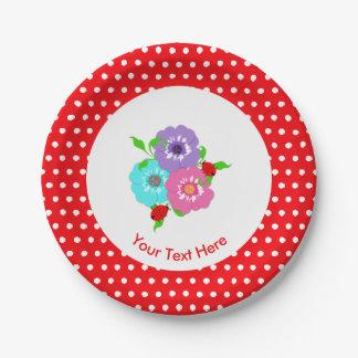 Prato De Papel Irrisório bonito bonito das flores & dos joaninhas
