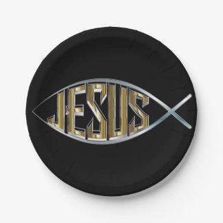 Prato De Papel Jesus dentro de um símbolo dos peixes