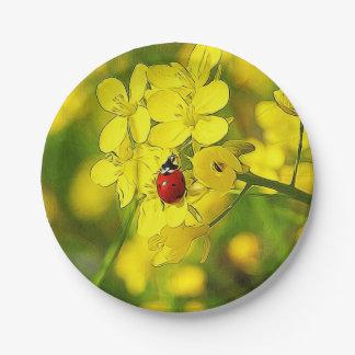 Prato De Papel Joaninha amarelo do vermelho da boa sorte da flor