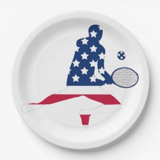 Prato De Papel Jogador do americano do tênis dos EUA