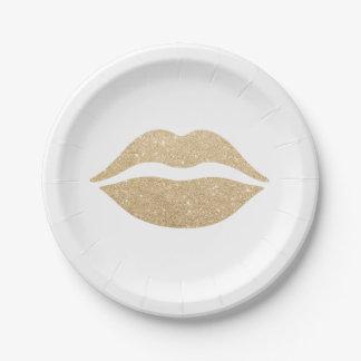 Prato De Papel lábios claros elegantes do brilho do ouro