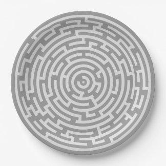 Prato De Papel Labirinto cinzento