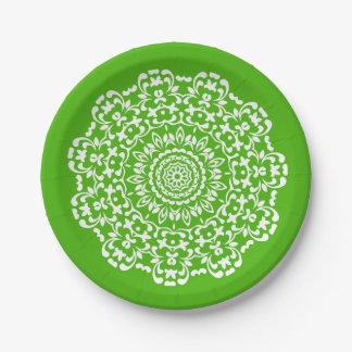 Prato De Papel Laçado branco verde elegante bonito modelado