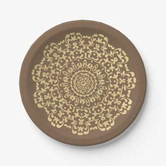 Prato De Papel Laçado elegante bonito de Brown do ouro modelado