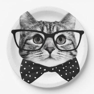 Prato De Papel laço do gato - gato dos vidros - gato de vidro