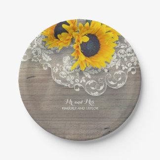 Prato De Papel Laço rústico e girassóis de madeira que Wedding
