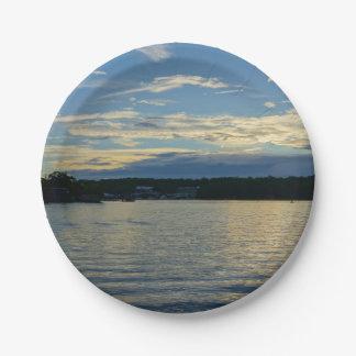 Prato De Papel Lago do por do sol do azul de Ozarks