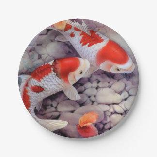 Prato De Papel Lagoa de peixes vermelha e branca de Koi
