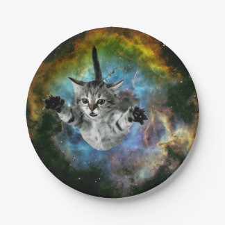 Prato De Papel Lançamento do gatinho do universo do gato da