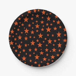 Prato De Papel Laranja estrelado da noite estrelado