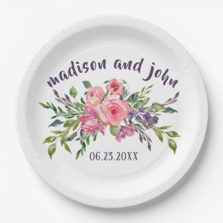 Prato De Papel Lavanda da noiva & do noivo e buquê floral