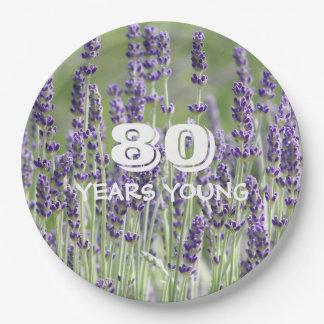 Prato De Papel lavanda do aniversário do 80 floral