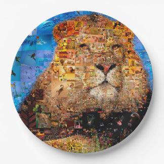 Prato De Papel leão - colagem do leão - mosaico do leão - leão