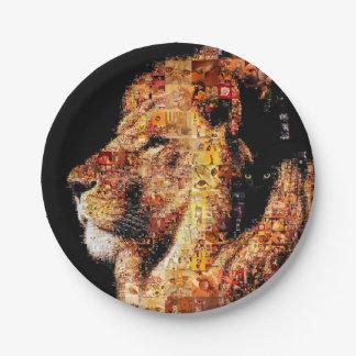 Prato De Papel Leão selvagem - colagem do leão - mosaico do leão