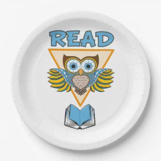 Prato De Papel Leia a coruja azul do ouro dos livros