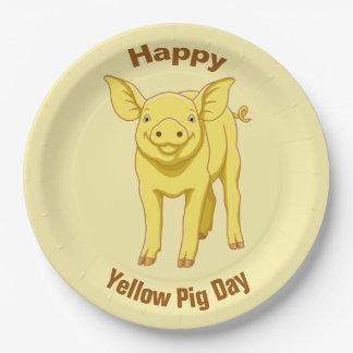 Prato De Papel Leitão bonito porco dia do 17 de julho amarelo