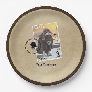 Prato De Papel Lembrança do selo postal de Alaska Muskox