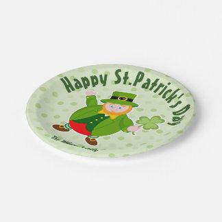 Prato De Papel Leprechaun do dia de um St Patrick que guardara um