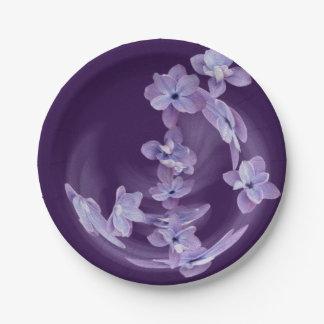 Prato De Papel Lilac no círculo
