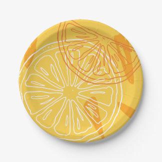 Prato De Papel Limões amarelos brilhantes teste padrão tirado do