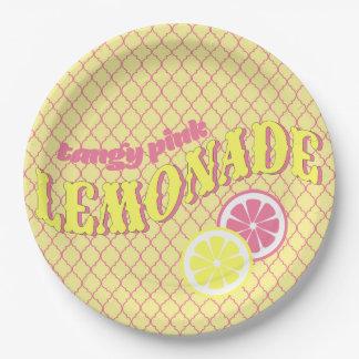 Prato De Papel Limonada cor-de-rosa Quatrefoil