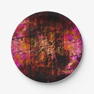 Prato De Papel Linhas abstratas vermelho roxo dos redemoinhos da