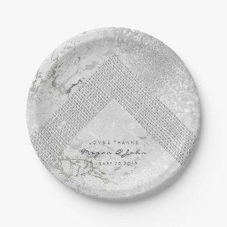 Prato De Papel Linho branco geométrico do mármore das cinzas de