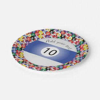 Prato De Papel Listra número dez das bolas de piscina do bilhar