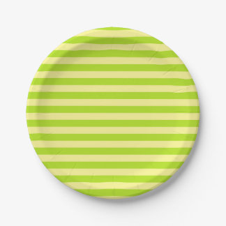 Prato De Papel Listras brandamente do amarelo e do verde limão