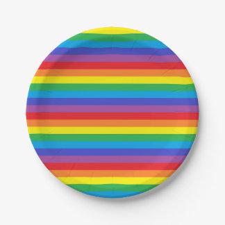 Prato De Papel Listras contínuas do arco-íris