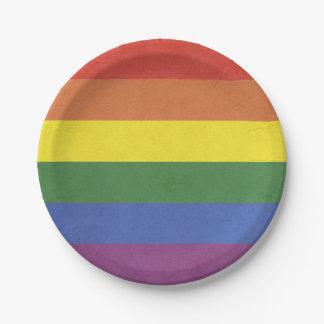Prato De Papel Listras do arco-íris