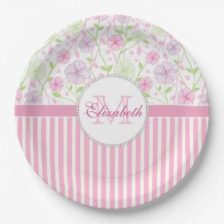 Prato De Papel Listras do rosa Pastel, do roxo, das flores, as