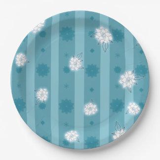 Prato De Papel Listras e flores da cerceta nas placas de papel