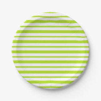 Prato De Papel Listras grossas e finas do verde limão e do branco