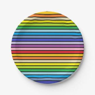 Prato De Papel Listras mais largas esboçadas preto do arco-íris