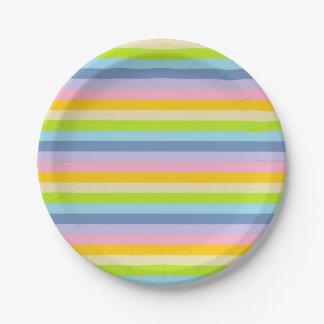 Prato De Papel Listras Pastel contínuas do arco-íris