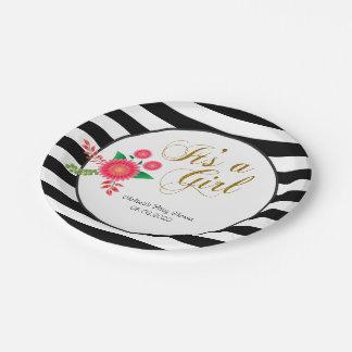 Prato De Papel Listras preto e branco elegantes com floral