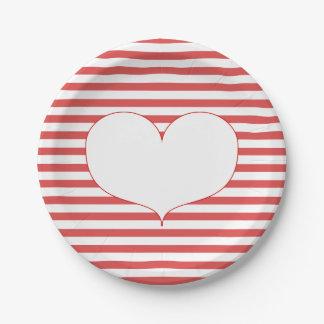 Prato De Papel Listras vermelhas & brancas & placa de papel do