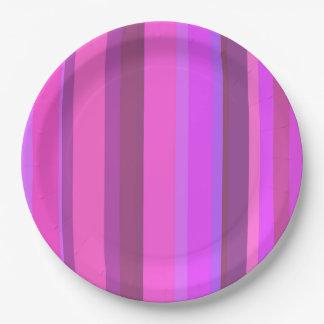 Prato De Papel Listras verticais cor-de-rosa