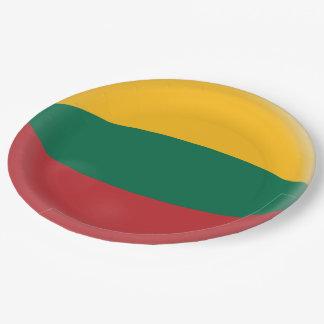 Prato De Papel Lithuania, bandeira verde & amarela vermelha
