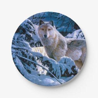 Prato De Papel Lobo ártico - lobo branco - arte do lobo