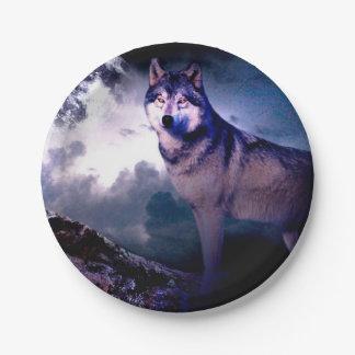 Prato De Papel Lobo da lua - lobo cinzento - lobo selvagem - lobo