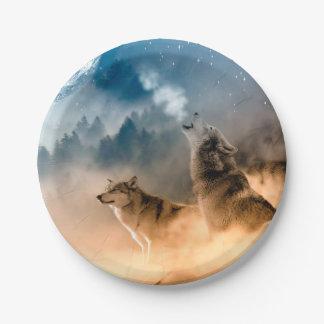 Prato De Papel Lobo de Howlin - arte do lobo - lobo da lua - lobo