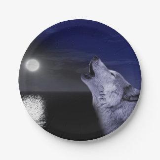 Prato De Papel Lobo de mar - lobo da lua - Lua cheia - lobo