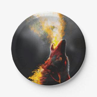 Prato De Papel Lobo do fogo