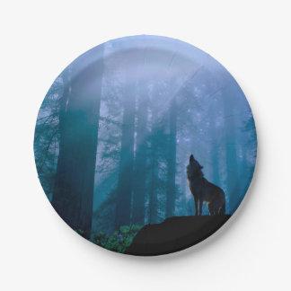 Prato De Papel Lobo do urro - lobo selvagem - lobo da floresta