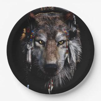 Prato De Papel Lobo indiano - lobo cinzento