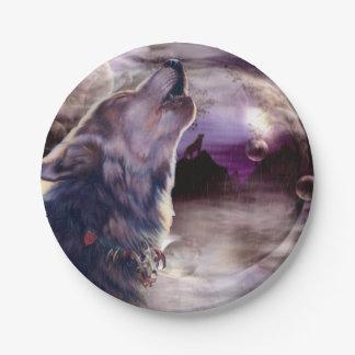 Prato De Papel Lobo que urra na lua