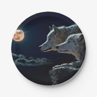 Prato De Papel Lobos do lobo que urram na Lua cheia