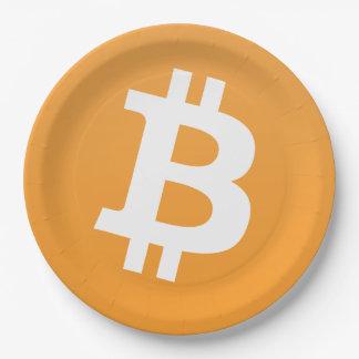 Prato De Papel Logotipo clássico de Bitcoin na placa do partido